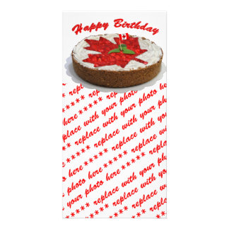 Canadian Cherry Maple Leaf Cake Personalized Photo Card
