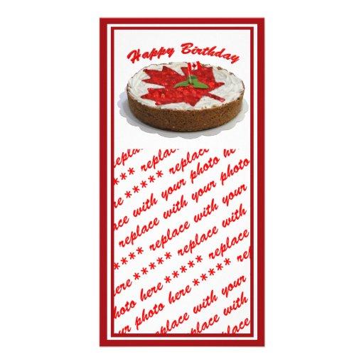 Canadian Cherry Maple Leaf Cake Photo Greeting Card