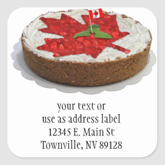 Canadian Cherry Maple Leaf Cake Square Stickers
