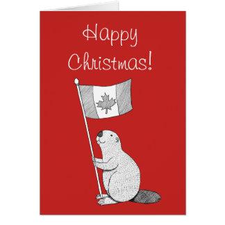 Canadian Christmas Card Beaver Maple-leaf Flag