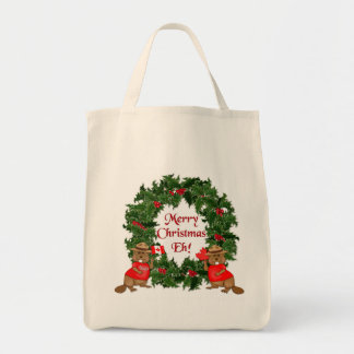 Canadian Christmas Grocery Tote Bag