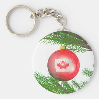 Canadian Christmas Tree Decoration Basic Round Button Key Ring