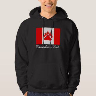 Canadian Cub Canadian Flag With Bear Paw Hoodie