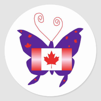 Canadian Diva Butterfly Round Sticker