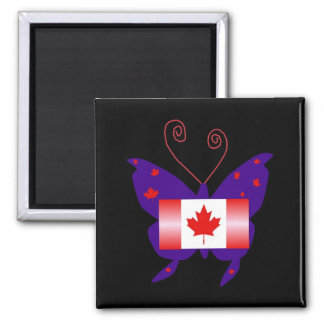 Canadian Diva Butterfly Square Magnet