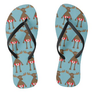 Canadian,Eh? Moose Flip Flops