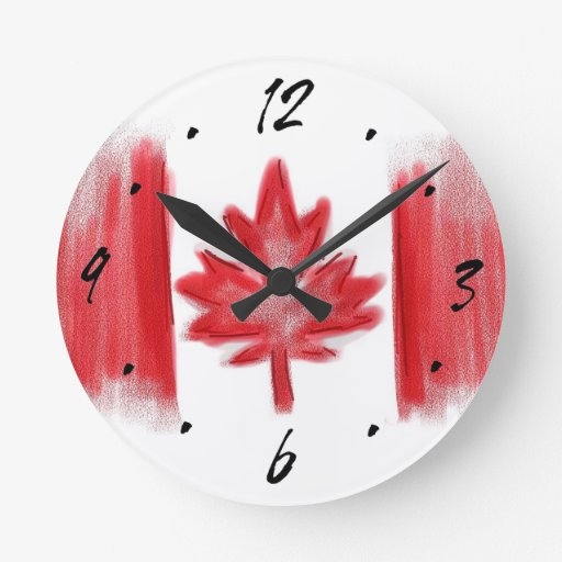 Canadian Flag Artistic Decorative Wall Clock Zazzle