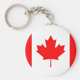 Canadian Flag Basic Round Button Key Ring
