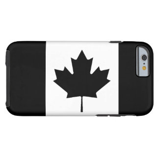 Canadian Flag Black And White Tough iPhone 6 Case