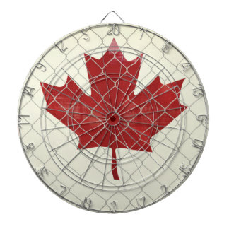 Canadian Flag. Chain Link Fence. Rustic. Cool. Dartboard