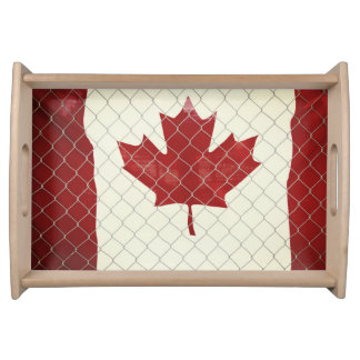 Canadian Flag. Chain Link Fence. Rustic. Cool. Serving Tray