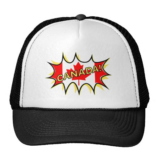 Canadian flag comic style starburst mesh hats