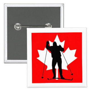 Canadian flag crosscountry skier 15 cm square badge