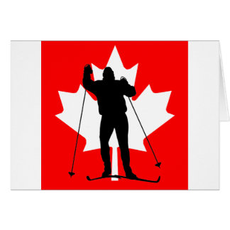 Canadian flag crosscountry skier greeting card