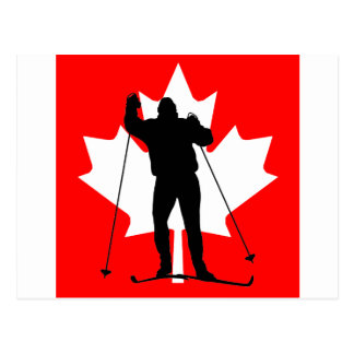 Canadian flag crosscountry skier post card