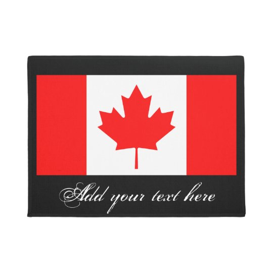 Canadian flag door mat with vintage typography