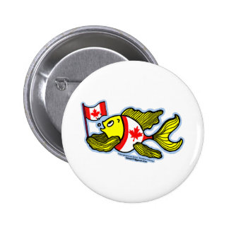 Canadian Flag Fish Pinback Buttons