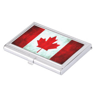 Canadian Flag Grunge Case For Business Cards