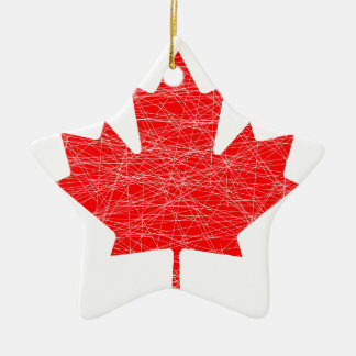 Canadian Flag Grunge Ceramic Star Decoration