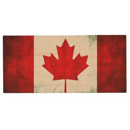 Canadian Flag Grunge Wood USB 2.0 Flash Drive