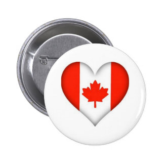 Canadian Flag Heart 6 Cm Round Badge