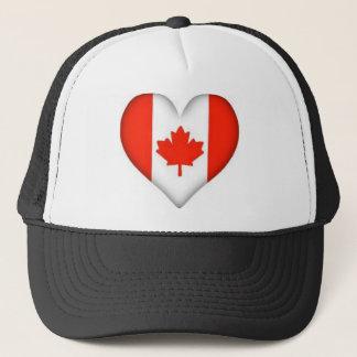 Canadian Flag Heart Trucker Hat