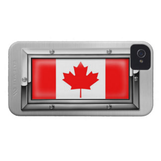 Canadian Flag in a Steel Frame iPhone 4 Case-Mate Case
