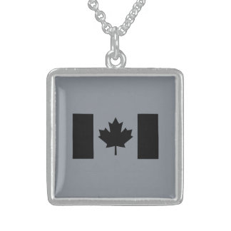 Canadian Flag in Black Square Pendant Necklace