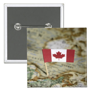 Canadian flag in map 15 cm square badge