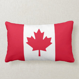 Canadian Flag Maple Leaf Red White Canada Lumbar Cushion
