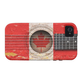 Canadian Flag on Old Acoustic Guitar Case-Mate iPhone 4 Cover