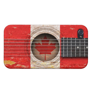 Canadian Flag on Old Acoustic Guitar iPhone 4 Cover