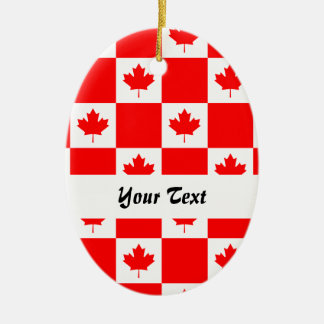 Canadian flag pattern Double-Sided oval ceramic christmas ornament