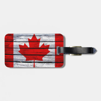 Canadian Flag Rustic Wood Bag Tag