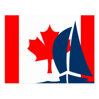 Canadian Flag Sailing Boat Canada Nautical Postcard