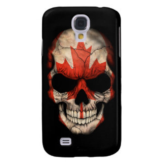 Canadian Flag Skull on Black Galaxy S4 Case