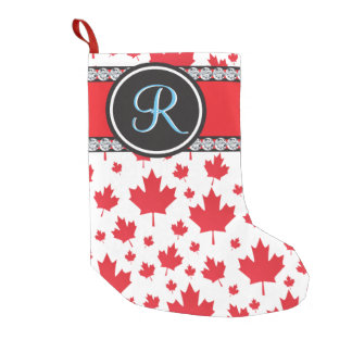 Canadian Flag Trendy Maple Leaf Abstract Monogram Small Christmas Stocking