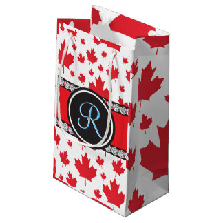 Canadian Flag Trendy Maple Leaf Abstract Monogram Small Gift Bag