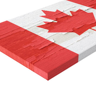 Canadian Flag Weathered Paint Canvas Print