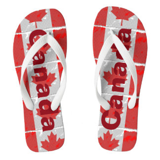 Canadian Flag with Canada Printed in Red Flip Flops