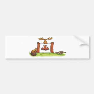 Canadian Flag with moose, beaver and goose Bumper Sticker