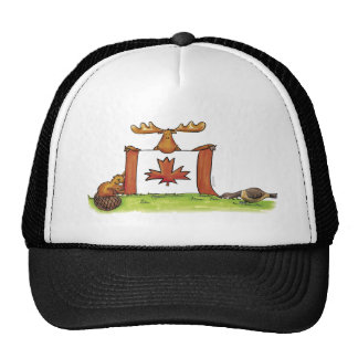 Canadian Flag with moose, beaver and goose Cap