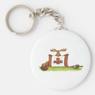 Canadian Flag with moose, beaver and goose Basic Round Button Key Ring