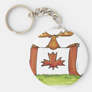 Canadian Flag with moose beaver and goose Keychain