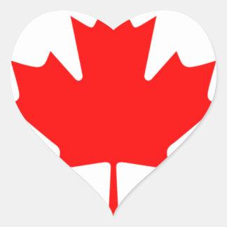 Canadian FlagPattern Heart Sticker