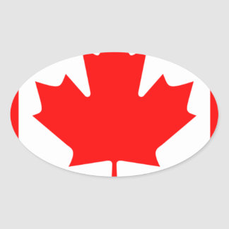 Canadian FlagPattern Oval Sticker