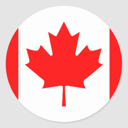 Canadian FlagPattern Round Stickers