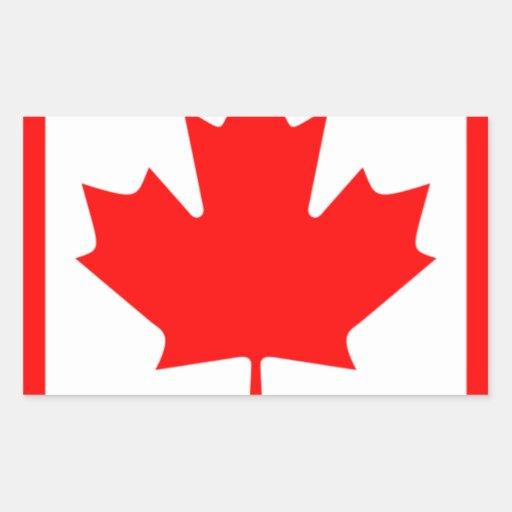 Canadian FlagPattern Rectangular Sticker