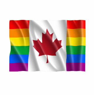 CANADIAN GAY PRIDE FLAG WAVY STANDING PHOTO SCULPTURE