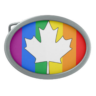 CANADIAN GAY PRIDE MAPLE OVAL BELT BUCKLES